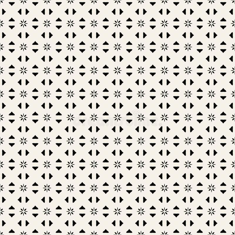 Tygtryck Geometrisk modell i repetition Sömlös bakgrund, mosaikprydnad, etnisk stil Två färgar stock illustrationer