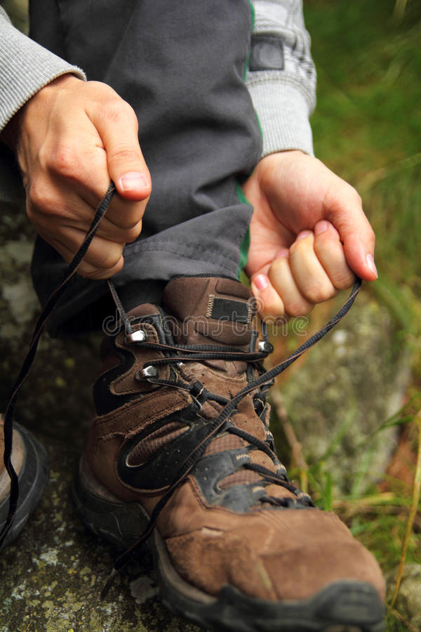 Download Tying hiking boots stock photo. Image of getting, outdoor - 33606560