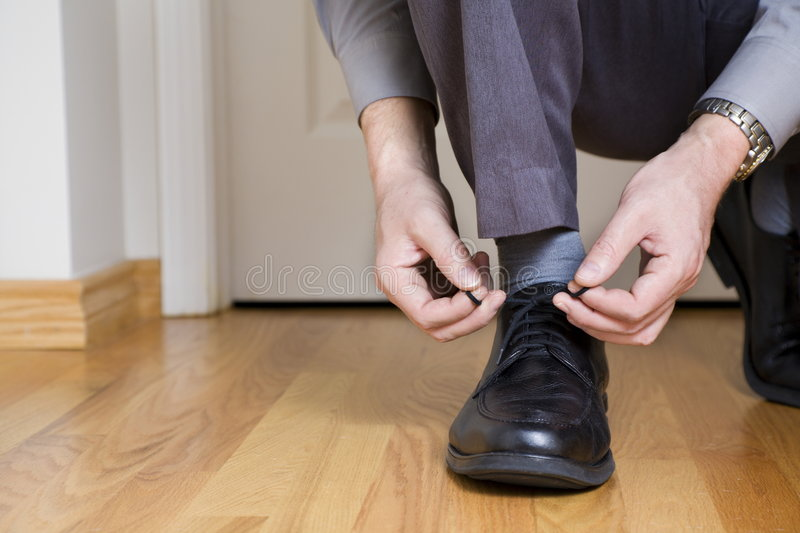 Download Tying shoes stock photo. Image of door, leather, ready - 8040844
