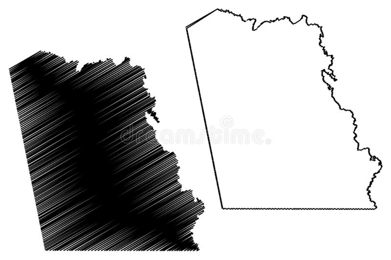 Tyler County, Texas Counties in Texas, United States of America,USA, U.S., US map vector illustration, scribble sketch Tyler map stock illustration