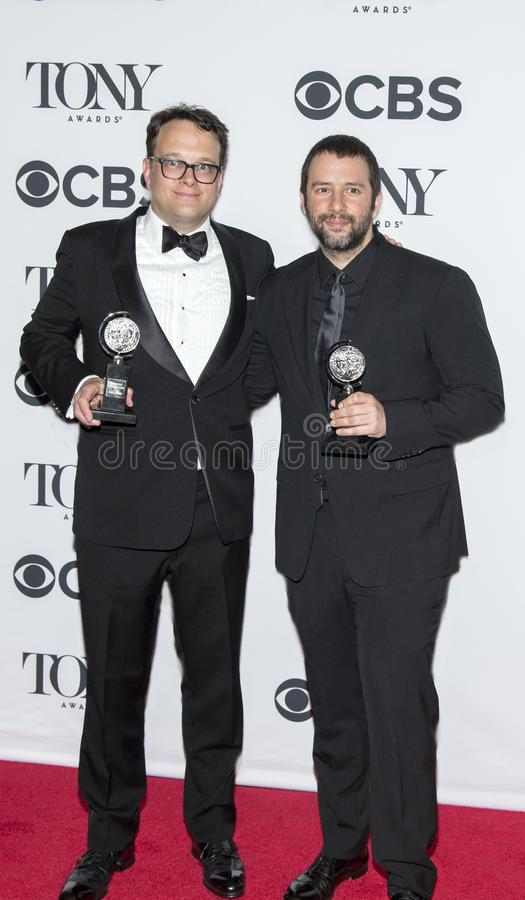 Tyler Micoleau and Itamar Moses at 2018 Tony Award. Lighting Designer Tyler Micoleau and author Itamar Moses arrive in the media room at of the 72nd Annual Tony stock photos