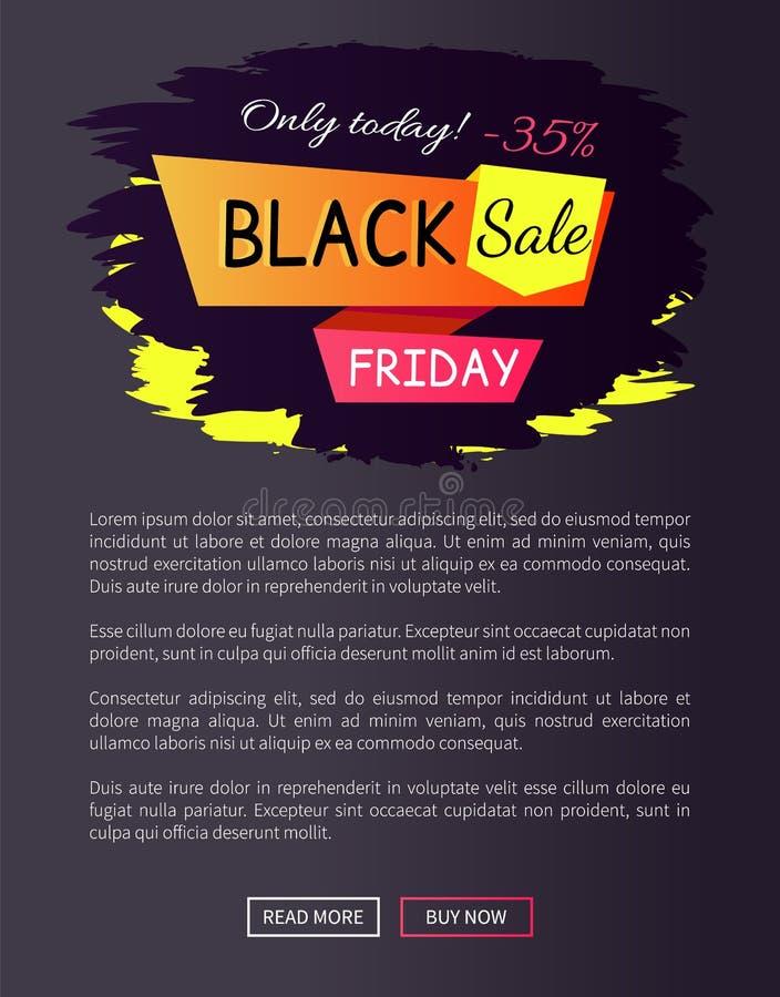 Tylko Dzisiaj - 35 z Czarnej sprzedaż Piątku Promo etykietki royalty ilustracja