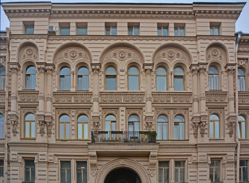 Tylna fasada Kosikovsky ` s dom w świętym Petersburg, Rosja zdjęcie stock