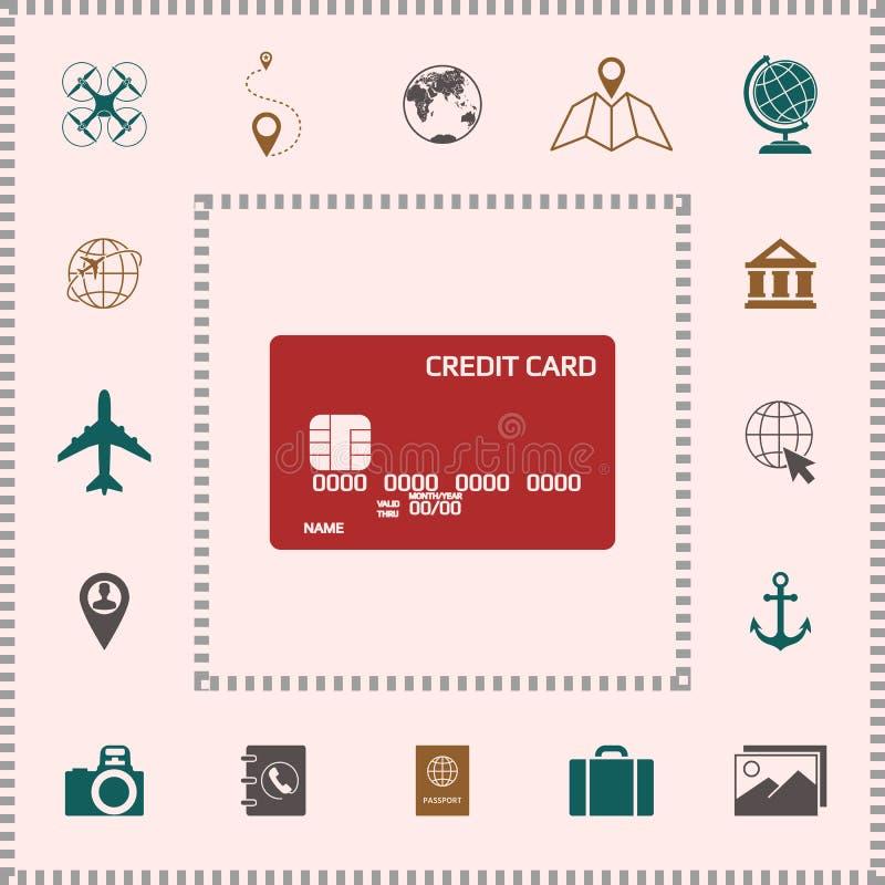 tylna karty kredyta przodu ikony strona ilustracja wektor