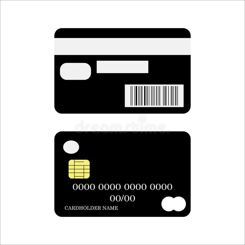 tylna karty kredyta przodu ikony strona Deponuje pieniądze karta kredytowa plecy i frontowej strony wektor eps10 ilustracji