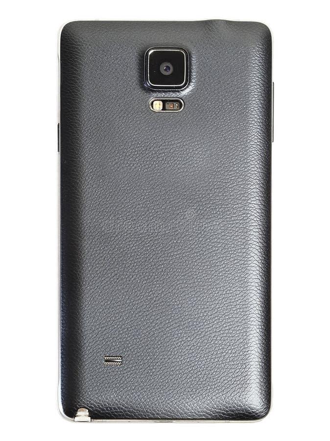 Tylna pokrywa z pięć calowy czarny mądrze telefon odizolowywa tło zdjęcia royalty free
