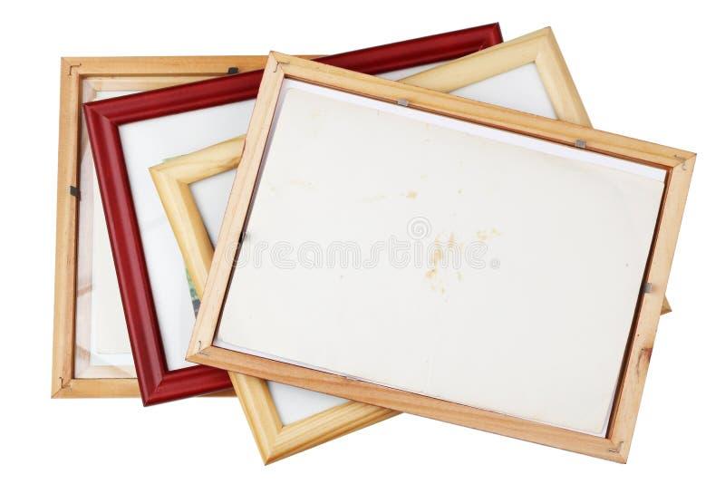 Tylna strona stary drewniany rocznik fotografii ram rozsypisko zdjęcia stock