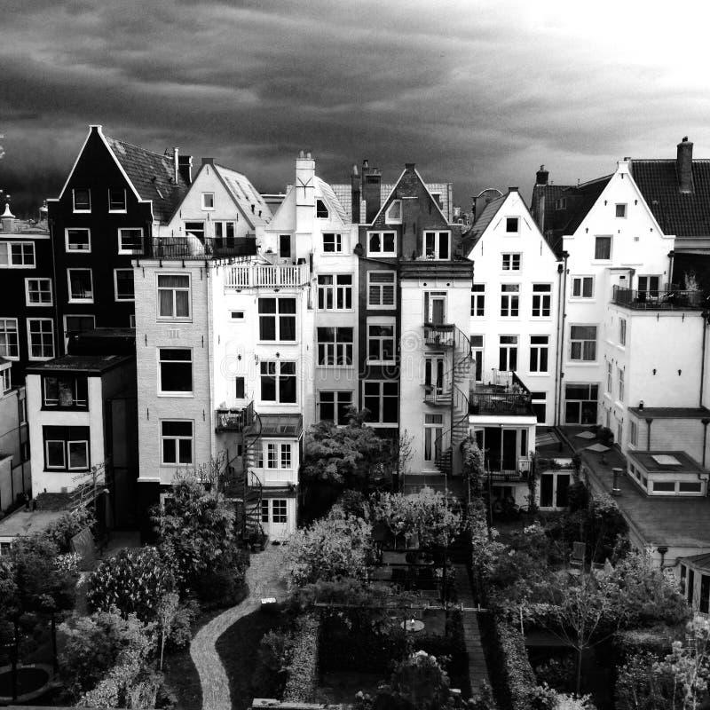 Tylna strona starzy dworów domy w Amsterdam holandie zdjęcia stock