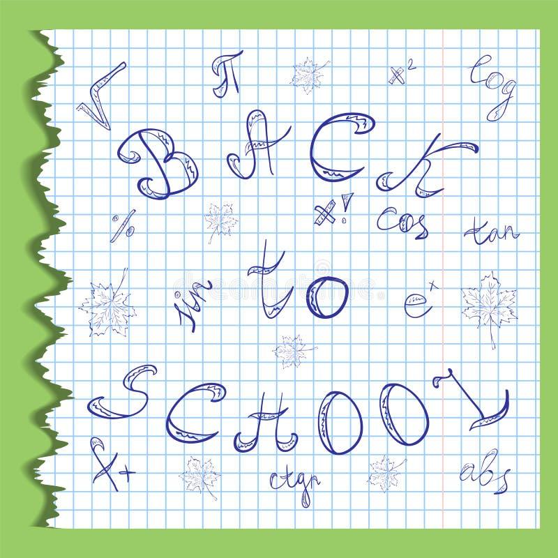 tylna szkoły Ręki Rysujący listy, Mathematics symbole i liście klonowi, Skrobaniny na Pluskoczącym prześcieradle Copybook w klatc ilustracja wektor