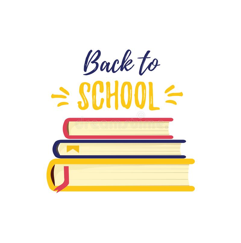 tylna szkoły Symbol wiedza i studiuje książkę Sterta podręczniki zdjęcie royalty free