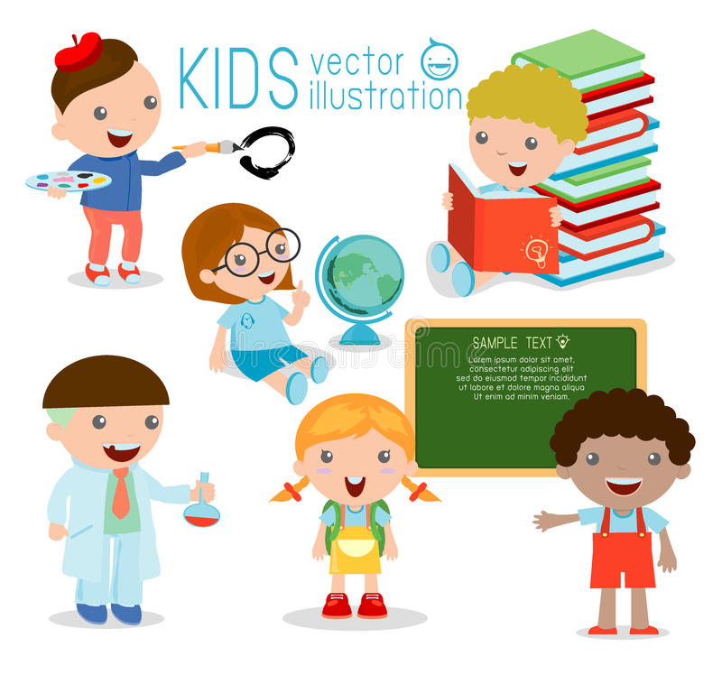 tylna szkoły szczęśliwi kreskówka dzieciaki w sala lekcyjnej, biologia, botanika, chemia, rysuje Napisał w kredzie na blackboard, royalty ilustracja