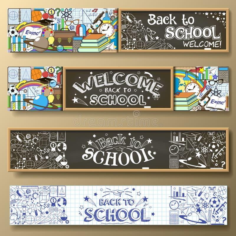 tylna szkoły Sztandary ustawiający z szkolnymi dostawami, chalkboard i doodles, royalty ilustracja