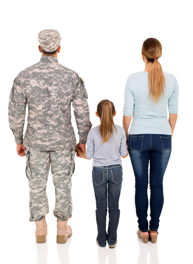 Tylna widoku wojskowego rodzina zdjęcie stock