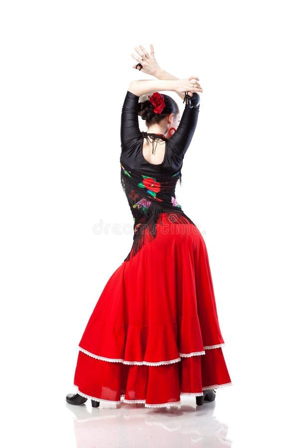 tylnego dancingowego flamenco odosobneni kobiety potomstwa zdjęcia stock