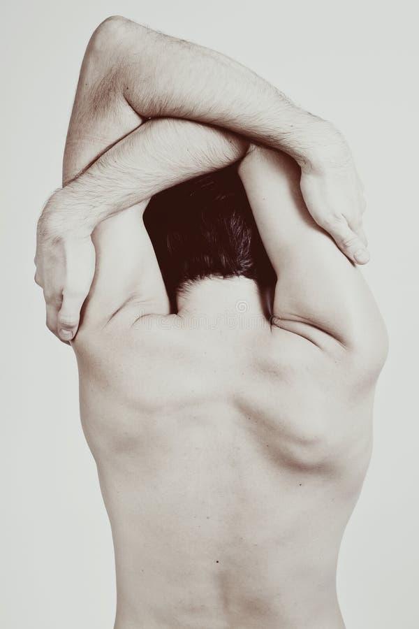 tylnego pięknego ciała mężczyzna nadzy potomstwa fotografia stock