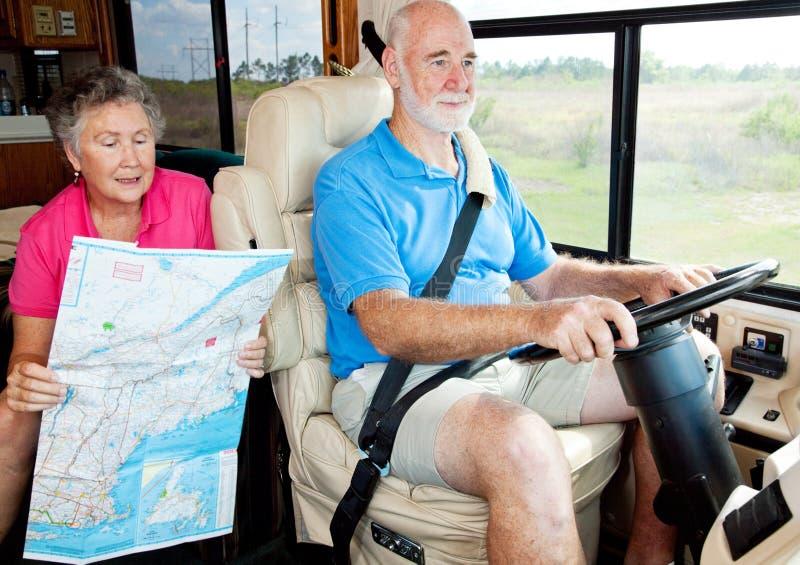 tylnego siedzenia kierowcy rv seniory obrazy royalty free