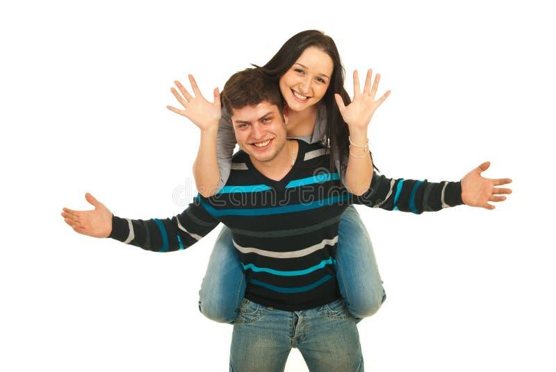 tylnej pary szczęśliwy prosiątko fotografia stock