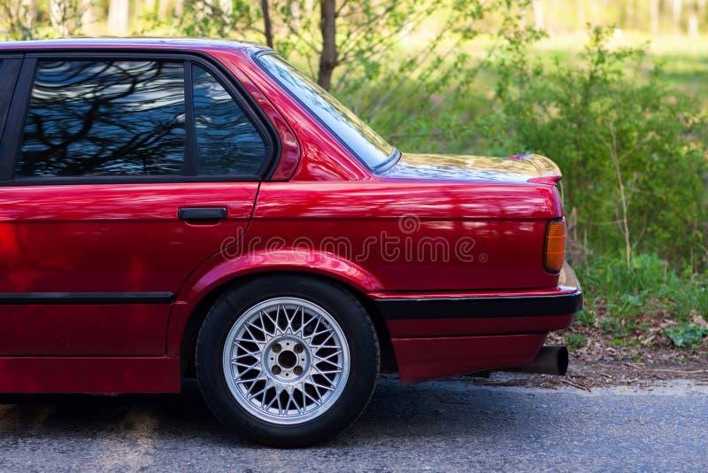 Tylni lewa strona stary Niemiecki samochód fotografia royalty free