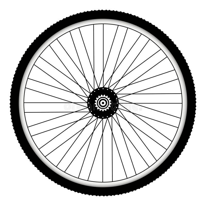 Tylni rowerowy koło z gwożdżącą rowerową oponą royalty ilustracja