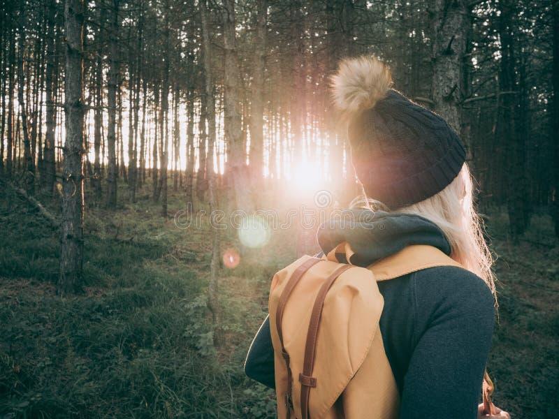 Tylni widok backpacker kobiety odprowadzenie w lesie fotografia royalty free