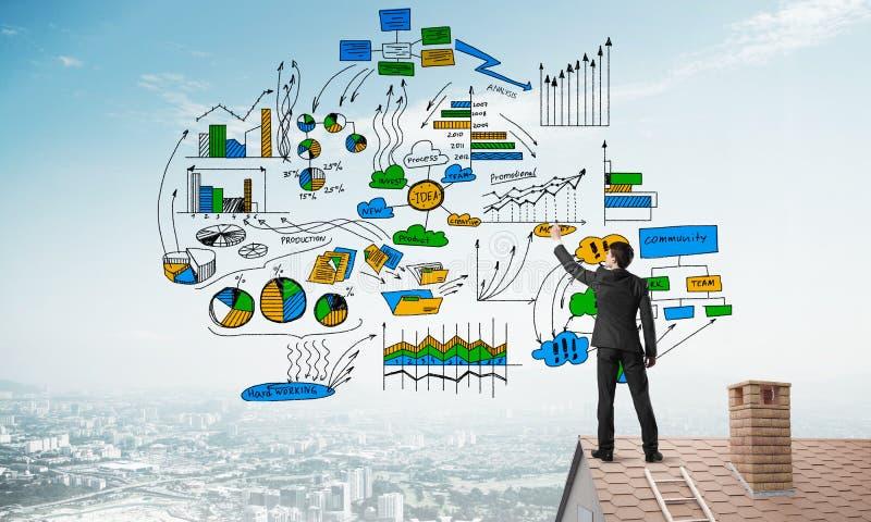 Tylni widok biznesmen na domu dachu rysuje jego nową strategię biznesową Mieszani środki obrazy stock