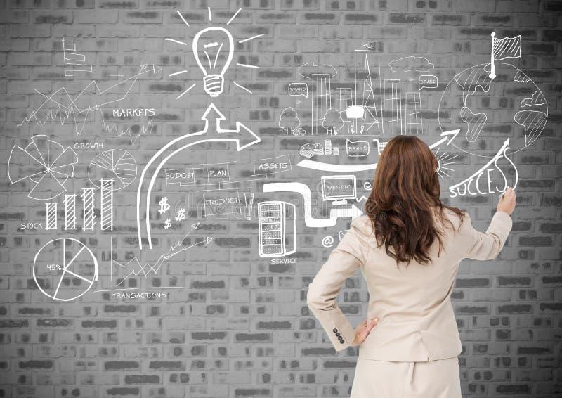 Tylni widok bizneswoman rysunkowe ikony na ściana z cegieł ilustracji