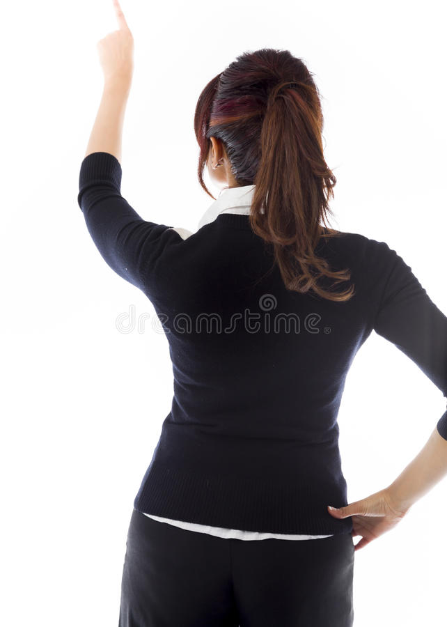 Download Tylni Widok Bizneswoman Udaje Pracowa? Na Wirtualnym Ekranie Obraz Stock - Obraz złożonej z wzrok, jeden: 41950905