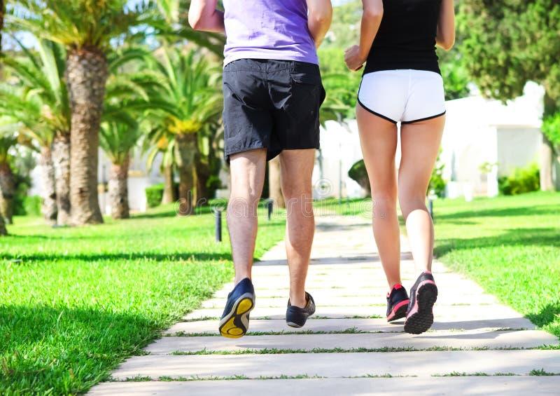 Tylni widok caucasian żeńscy i męscy biegacze fotografia royalty free