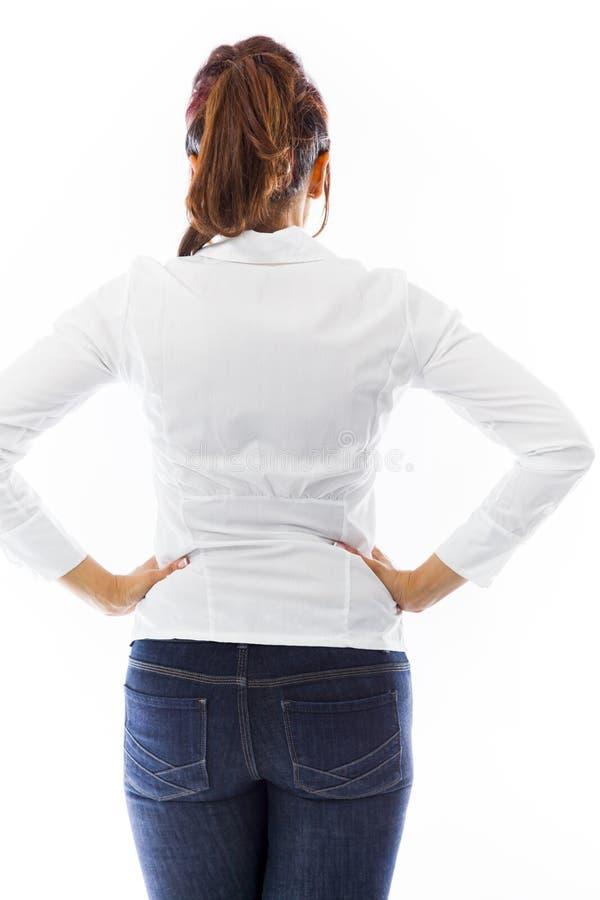 Download Tylni Widok Indianin Młodej Kobiety Pozycja Z Rękami Na Biodrze Obraz Stock - Obraz złożonej z wyobraźnie, cięcie: 41951309