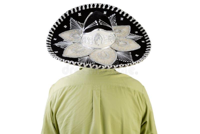 Tylni widok jest ubranym Meksykańskiego sombrero mężczyzna obraz royalty free