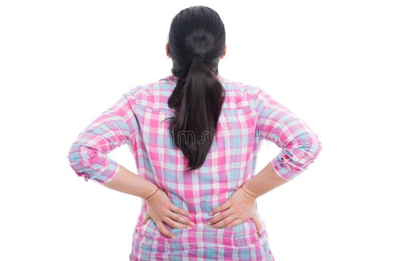 Tylni widok kobieta z niskim bólem pleców obraz royalty free