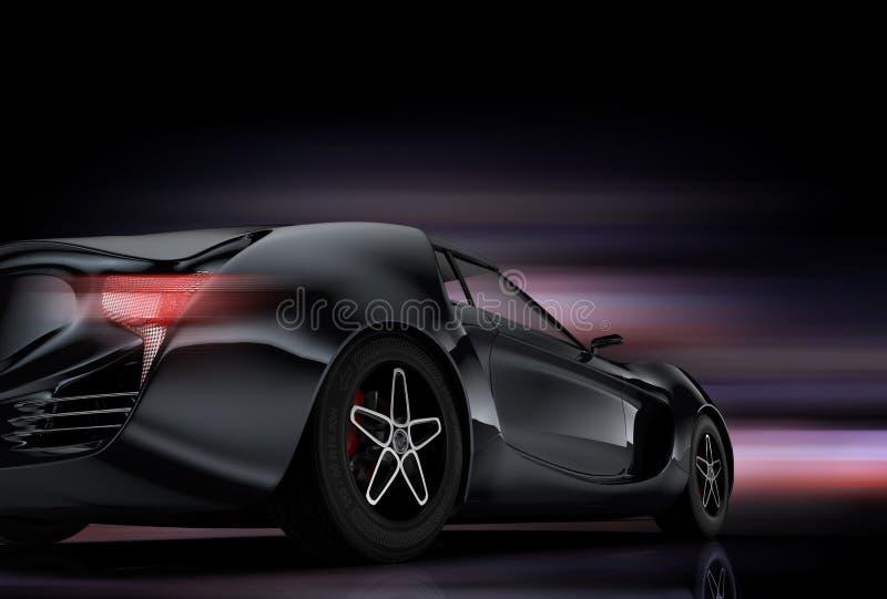 Tylni widok odizolowywający na czarnym tle sporta samochód ilustracji