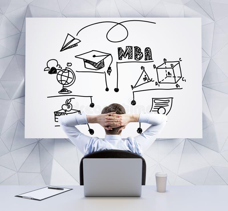 Tylni widok relaksujący biznesmen z krzyżować rękami za jego głowa która jest przyglądająca whiteboard z flowchart abou, obraz royalty free