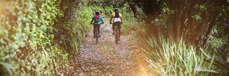 Tylni widok rowerzysta pary kolarstwo w wsi obrazy royalty free