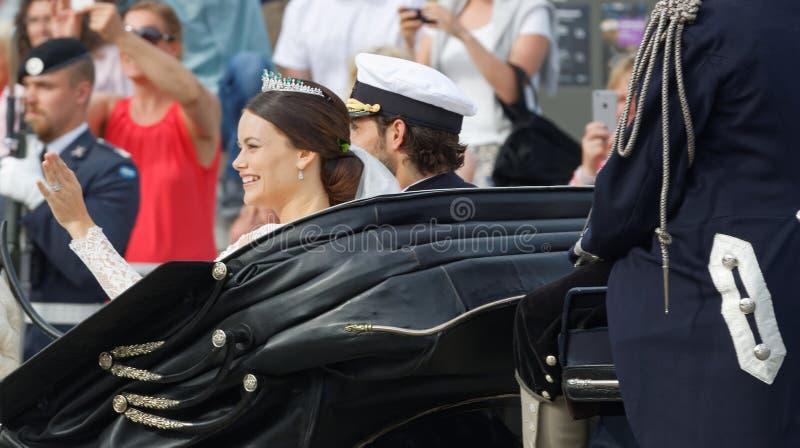 Tylni widok szwedzki książe Philip Bernadotte i jego w zdjęcia royalty free