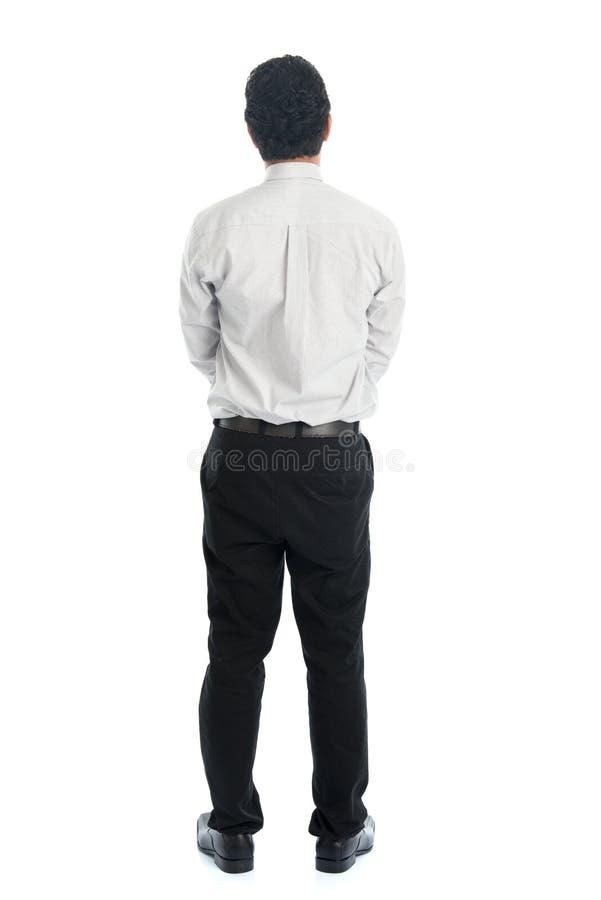 Tylni widoku długości folujący Azjatycki mężczyzna zdjęcie royalty free