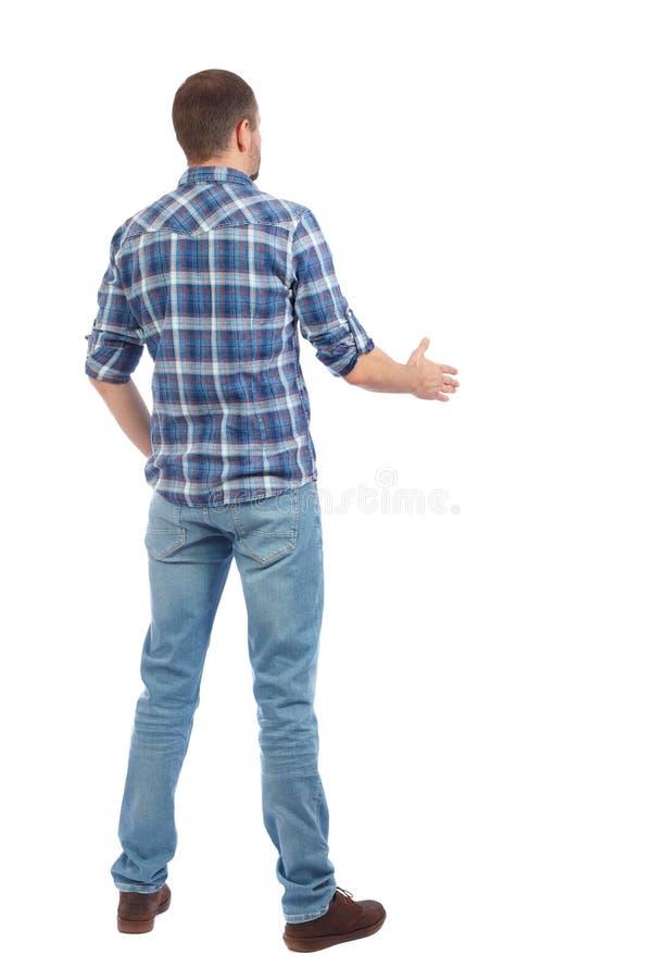 Tylny boczny widok mężczyzna w koszulowym uścisku dłoni zdjęcie royalty free
