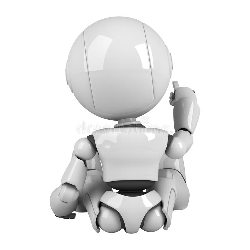 tylny robot siedzi biel royalty ilustracja