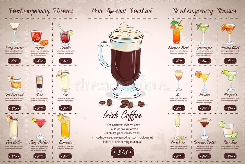 Tylny Rysunkowy horisontal koktajlu menu projekt obraz royalty free