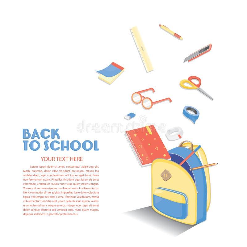 tylny szkolny szablon Edukaci tła projekt Colourful wektor faszeruje ilustracja wektor