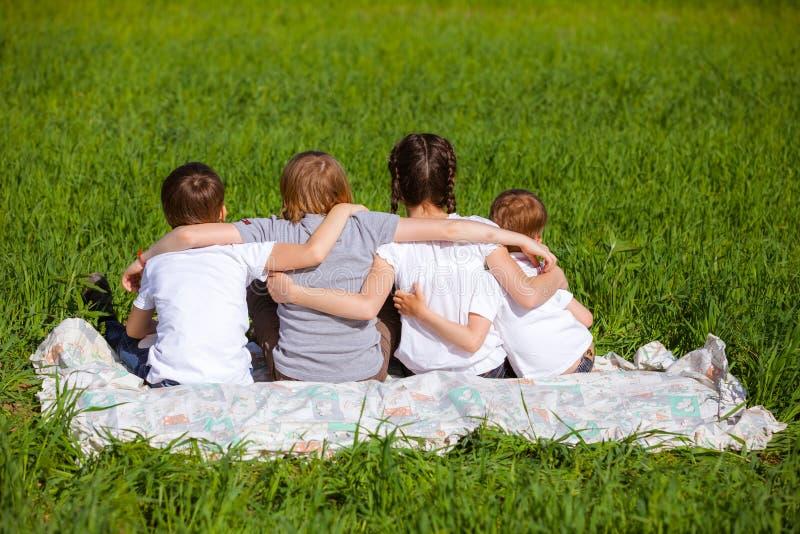 Tylny widok śliczni dzieciaki sadzający na zielonej trawie zdjęcia stock