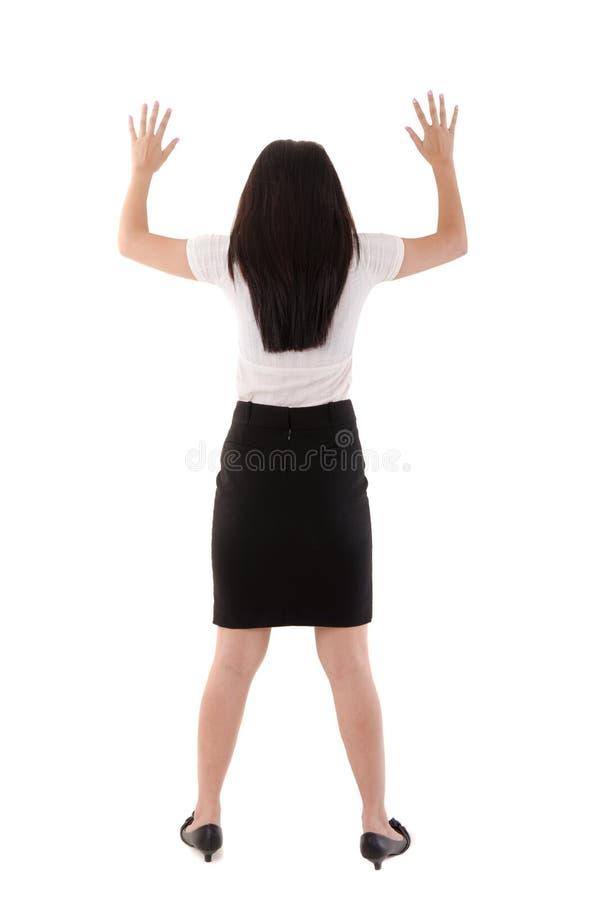 Tylny widok azjatykcia biznesowa kobieta zdjęcie royalty free