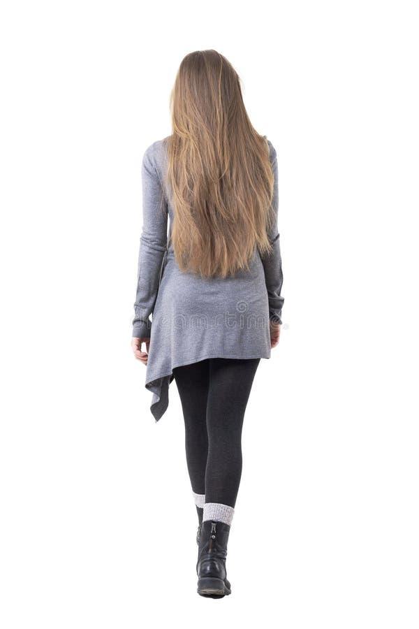 Tylny widok elegancka młoda kobieta z długi ciemny blondynka włosy chodzący daleko od opuszczać obraz royalty free