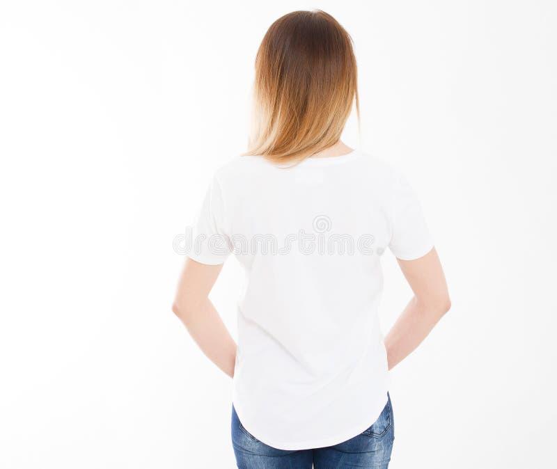 Tylny widok młoda kobieta, dziewczyna w eleganckim tshirt na białym tle Egzamin próbny up dla projekta kosmos kopii szablon blank obrazy stock