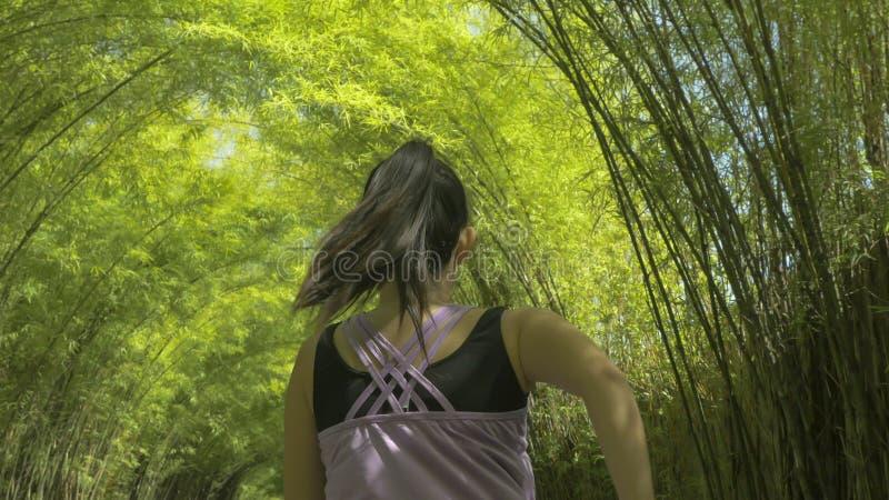Tylny widok młoda kobieta z konika ogonu bieg ćwiczy jogging trening przy pięknym miasto parkiem w zdrowym styl życia i sporcie zdjęcia stock
