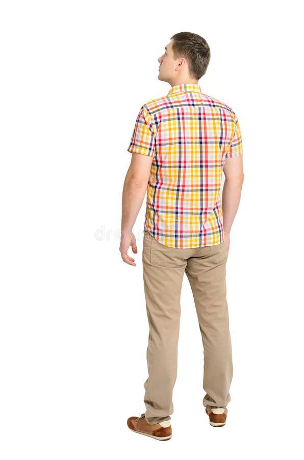 Tylny widok młody człowiek w szkocka krata cajgów i koszula patrzeć zdjęcie royalty free