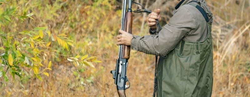 Tylny widok myśliwy niesie klasycznego karabinowego shotgu w lesie f obrazy stock