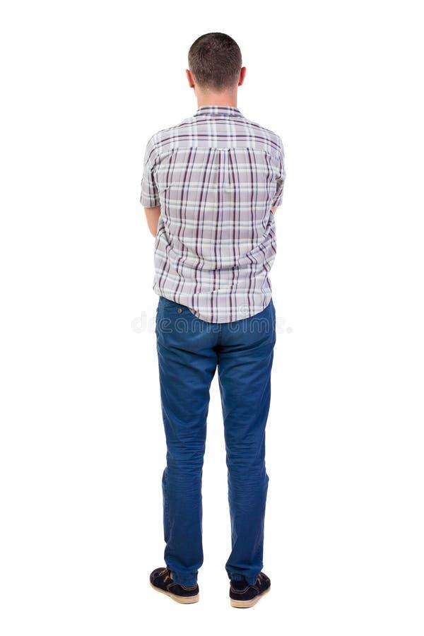 Tylny widok przystojny mężczyzna w koszula zdjęcia royalty free