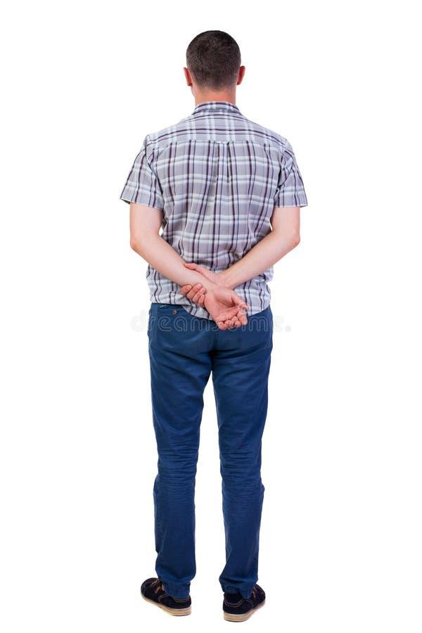 Tylny widok przystojny mężczyzna w koszula obrazy stock