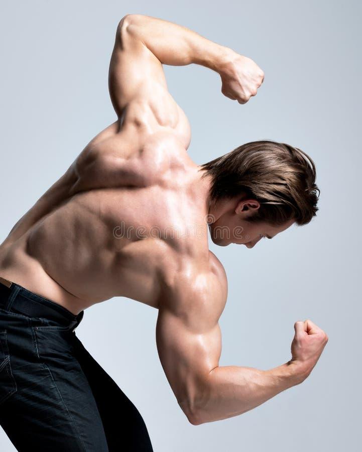 Tylny widok przystojny mężczyzna z mięśniowym ciałem. zdjęcia stock
